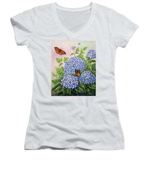 Monarchs And Hydrangeas Women's V-Neck T-Shirt