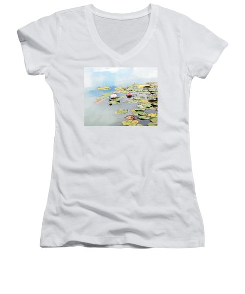 Women's V-Neck T-Shirt (Junior Cut) featuring the photograph Monet's Garden by Brooke T Ryan