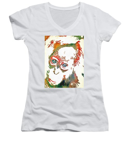 Monkey Pop Art Women's V-Neck T-Shirt (Junior Cut) by Catherine Lott