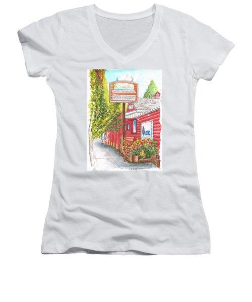 Mono Market Near Mono Lake In Lee Vining-california Women's V-Neck T-Shirt (Junior Cut) by Carlos G Groppa