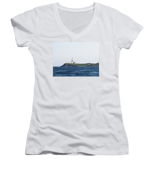 Montauk Lighthouse From The Atlantic Ocean Women's V-Neck (Athletic Fit)