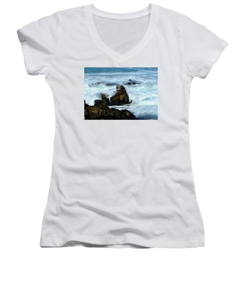 Women's V-Neck T-Shirt (Junior Cut) featuring the photograph Monterey-2 by Dean Ferreira