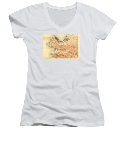 Monterey And Carmel Valley  Monterey Peninsula California  1912 Women's V-Neck T-Shirt (Junior Cut) by California Views Mr Pat Hathaway Archives