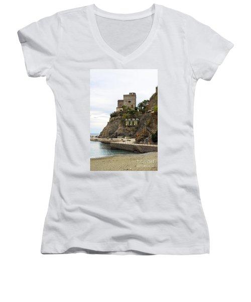 Monterosso Harbor Pier Women's V-Neck