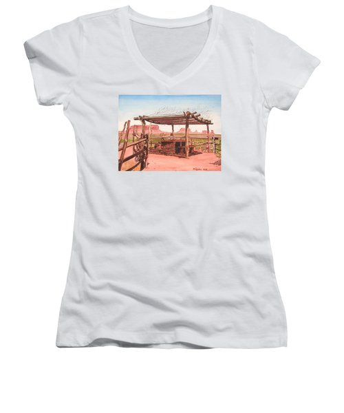 Monument Valley Overlook Women's V-Neck T-Shirt (Junior Cut) by Mike Robles