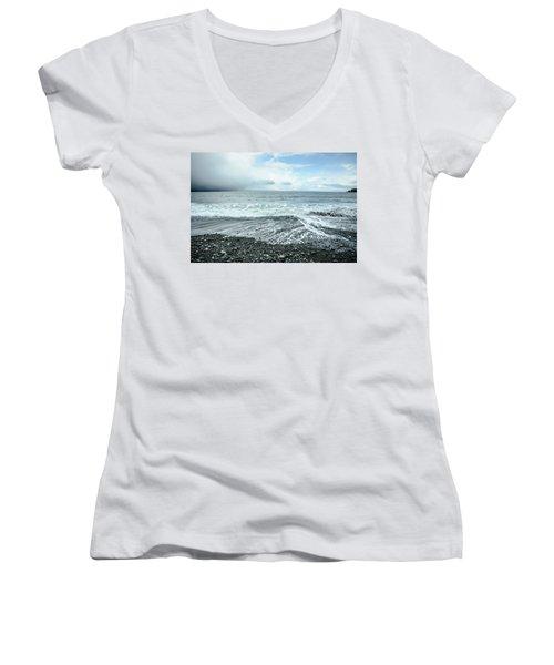 Moody Waves French Beach Women's V-Neck