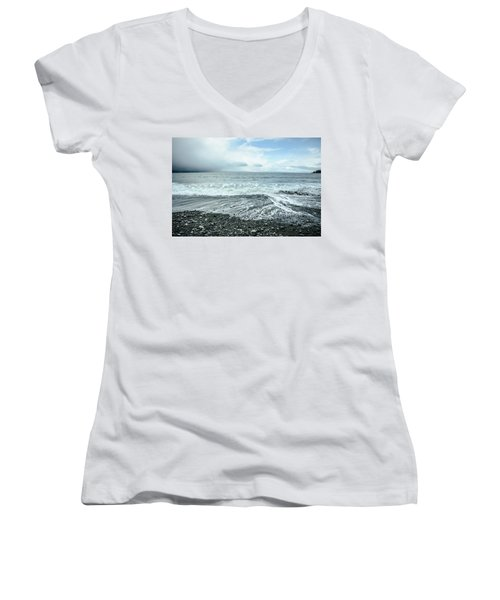 Moody Waves French Beach Women's V-Neck (Athletic Fit)
