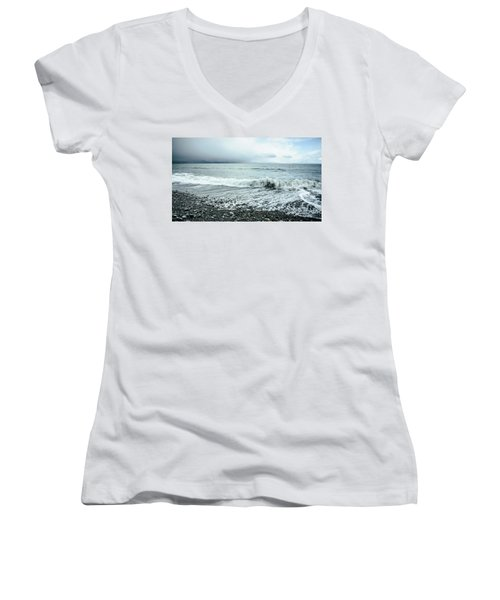 Moody Shoreline French Beach Women's V-Neck (Athletic Fit)