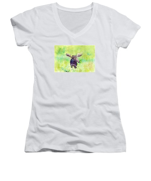 Moose In Flowers Women's V-Neck T-Shirt (Junior Cut) by C Sitton