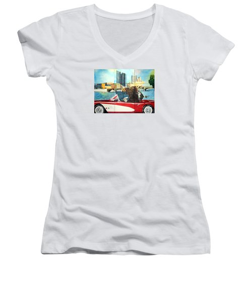 Women's V-Neck T-Shirt (Junior Cut) featuring the painting Moose Rapids Il by LeAnne Sowa