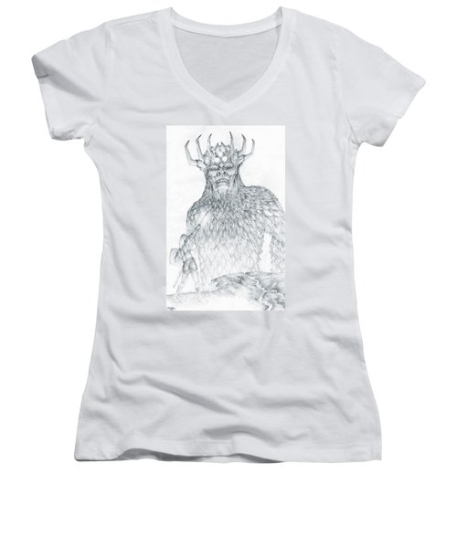 Women's V-Neck T-Shirt (Junior Cut) featuring the drawing Morgoth And Fingolfin by Curtiss Shaffer