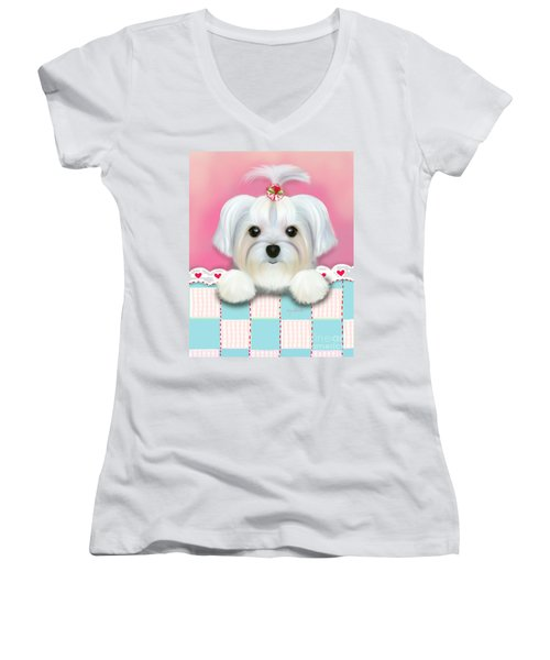 Morkie Shelly Women's V-Neck