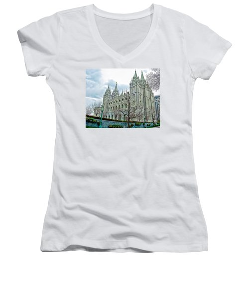 Mormon Temple In Early Spring Women's V-Neck T-Shirt