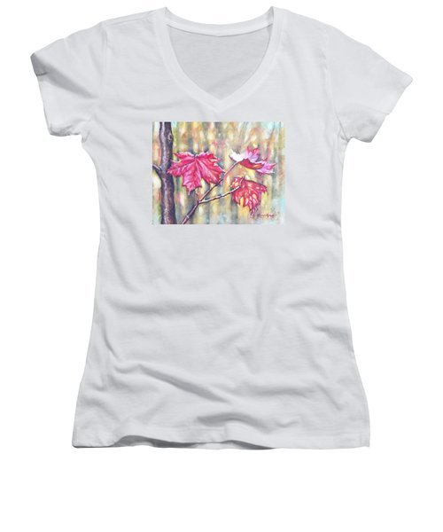 Morning After Autumn Rain Women's V-Neck T-Shirt (Junior Cut) by Shana Rowe Jackson