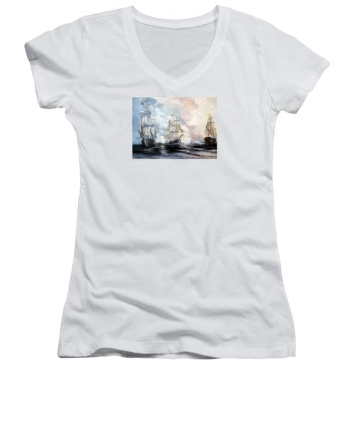 Women's V-Neck T-Shirt (Junior Cut) featuring the painting Morning Battle by Lee Piper