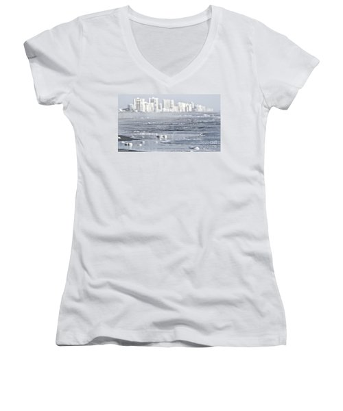 Women's V-Neck T-Shirt (Junior Cut) featuring the photograph Morning Dreams In Daytona by Janie Johnson