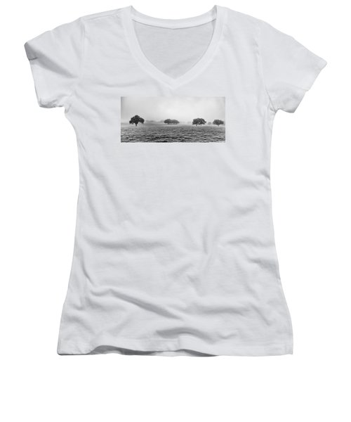 Women's V-Neck featuring the photograph Morning Fog by Howard Salmon