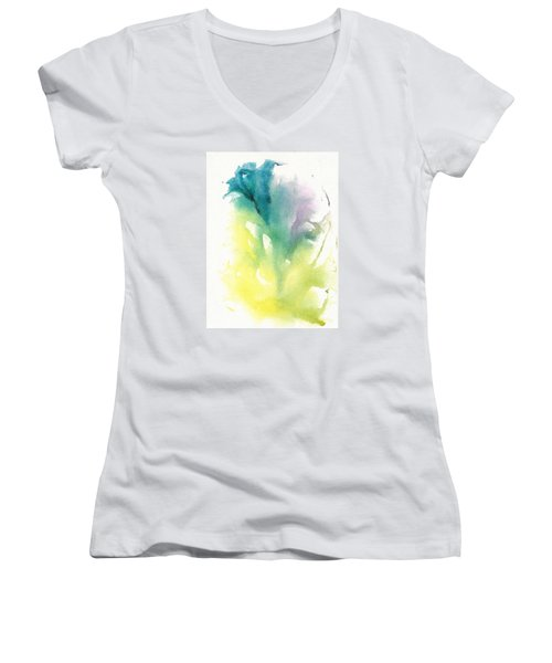 Women's V-Neck T-Shirt (Junior Cut) featuring the painting Morning Glory Abstract by Frank Bright