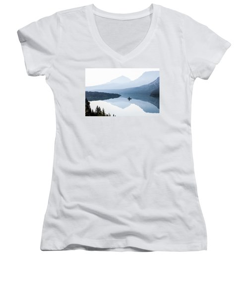 Morning Mist Women's V-Neck T-Shirt (Junior Cut) by Aaron Aldrich