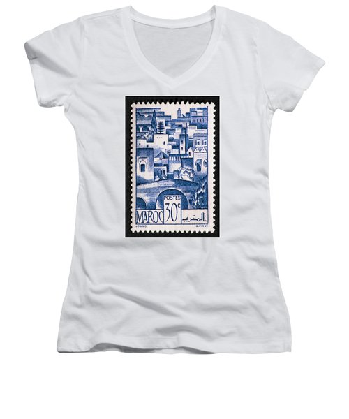 Morocco Vintage Postage Stamp Women's V-Neck T-Shirt (Junior Cut) by Andy Prendy