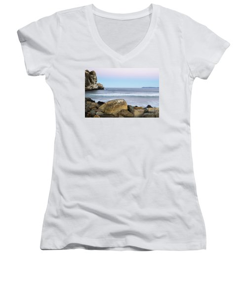 Morro Rock Morning Women's V-Neck T-Shirt