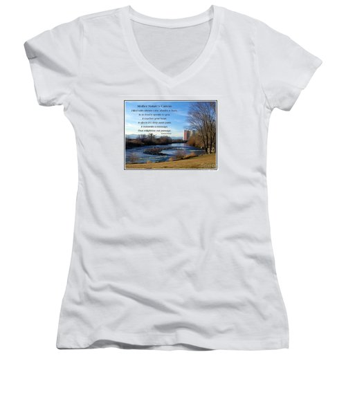 Women's V-Neck T-Shirt (Junior Cut) featuring the photograph Mother Natures Canvas by Bobbee Rickard