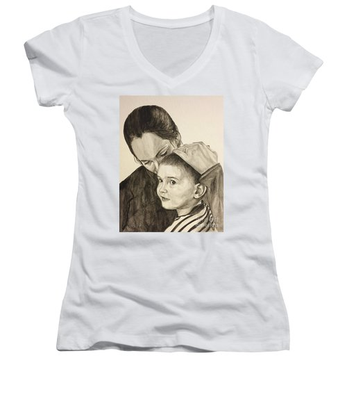 Women's V-Neck T-Shirt (Junior Cut) featuring the painting Mother's Love by Tamir Barkan