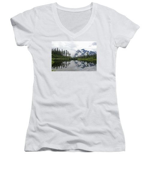 Mount Baker- Lake- Fir Trees And  Fog Women's V-Neck (Athletic Fit)