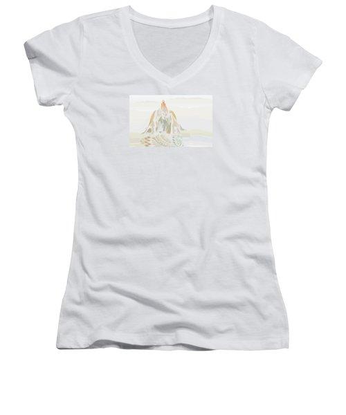 Women's V-Neck T-Shirt (Junior Cut) featuring the digital art Mount Helm by Kevin McLaughlin