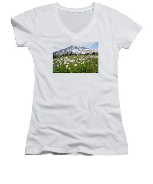 Mount Rainier And A Meadow Of Aster Women's V-Neck T-Shirt (Junior Cut) by Jeff Goulden