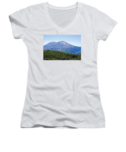 Mount St. Helens And Castle Lake In August Women's V-Neck T-Shirt (Junior Cut) by Connie Fox