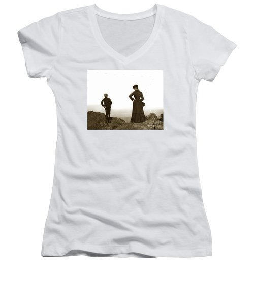 Women's V-Neck T-Shirt (Junior Cut) featuring the photograph Mount Tamalpais Marin County California Circa 1902 by California Views Mr Pat Hathaway Archives