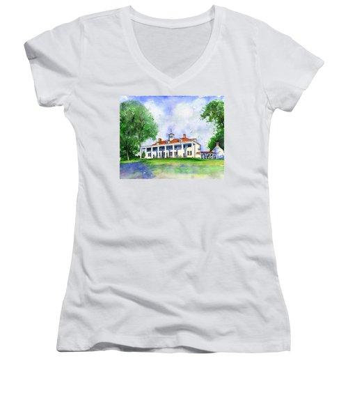 Mount Vernon Front Women's V-Neck T-Shirt (Junior Cut)