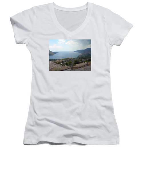 Mountain And Sea View In Greece Women's V-Neck