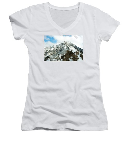 Mountain Covered With Snow Women's V-Neck (Athletic Fit)