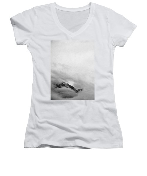 Mountain Peak In Clouds Women's V-Neck (Athletic Fit)