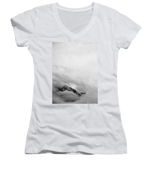 Mountain Peak In Clouds Women's V-Neck T-Shirt