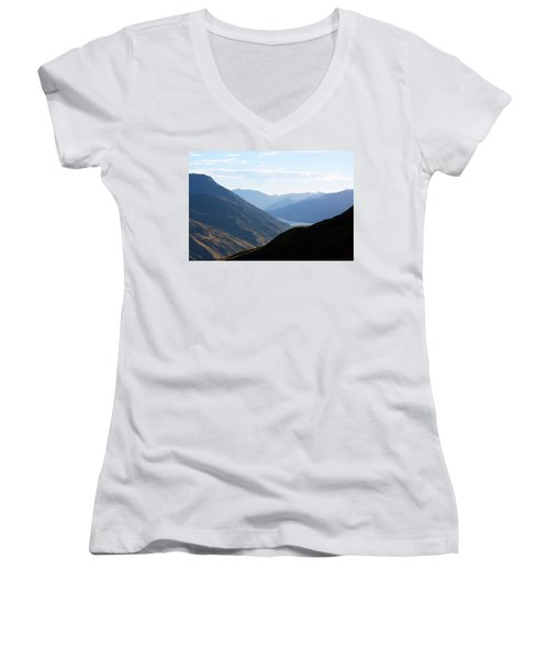 Women's V-Neck T-Shirt (Junior Cut) featuring the photograph Mountains Meet Lake #3 by Stuart Litoff