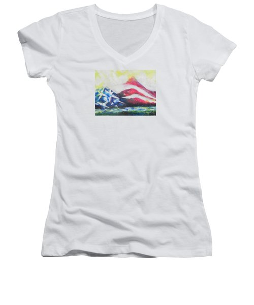 Mountains Of Freedom Two Women's V-Neck (Athletic Fit)