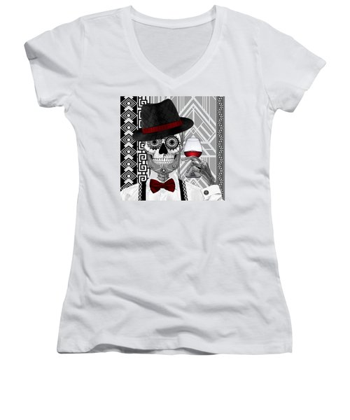 Mr. J.d. Vanderbone - Day Of The Dead 1920's Sugar Skull - Copyrighted Women's V-Neck T-Shirt (Junior Cut) by Christopher Beikmann