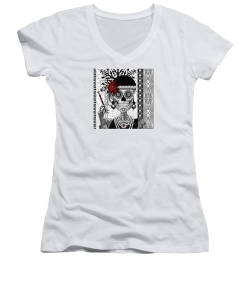 Mrs. Gloria Vanderbone - Day Of The Dead 1920's Flapper Girl Sugar Skull - Copyrighted Women's V-Neck T-Shirt