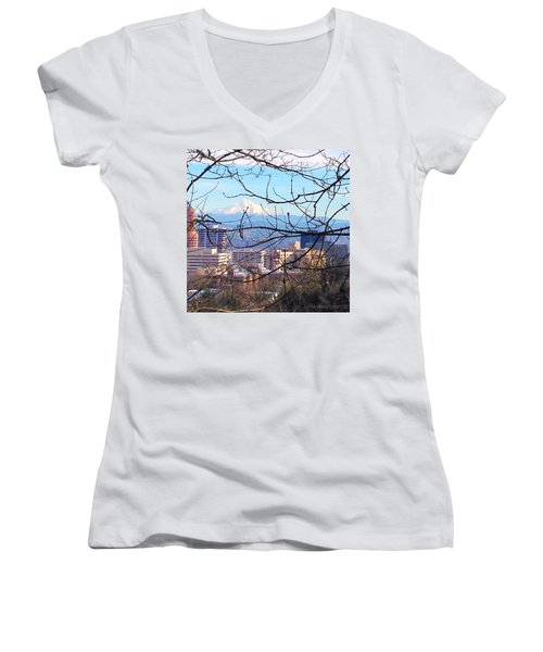 Mt Hood And Downtown Portland Women's V-Neck (Athletic Fit)