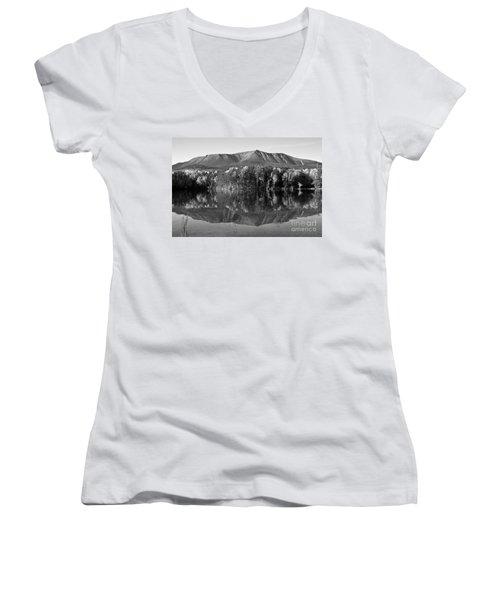 Mt Katahdin Black And White Women's V-Neck T-Shirt