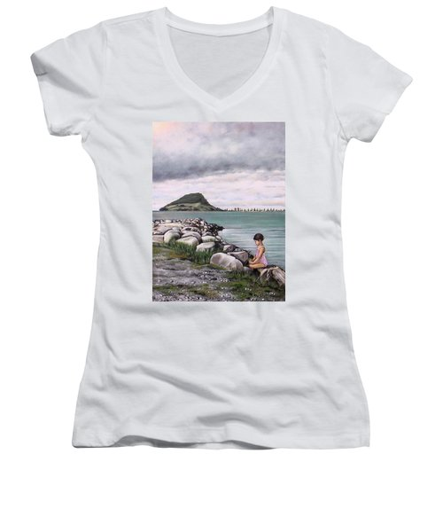 Mt Maunganui 140408 Women's V-Neck (Athletic Fit)