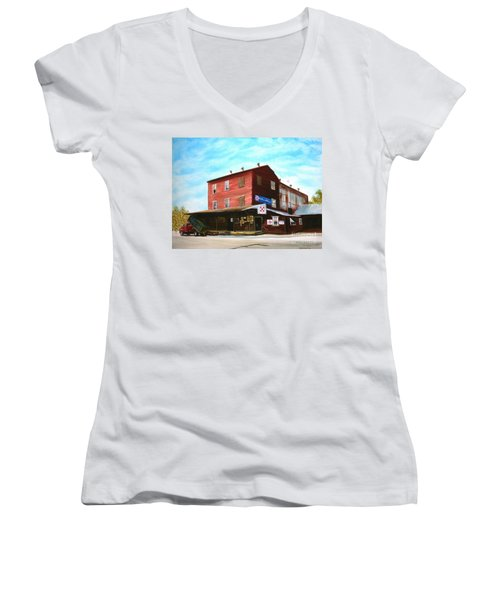 Women's V-Neck T-Shirt (Junior Cut) featuring the painting Mt. Pleasant Milling Company by Stacy C Bottoms
