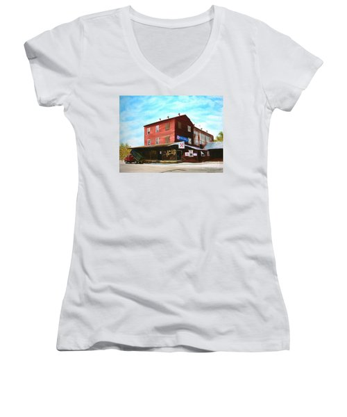 Mt. Pleasant Milling Company Women's V-Neck T-Shirt (Junior Cut) by Stacy C Bottoms