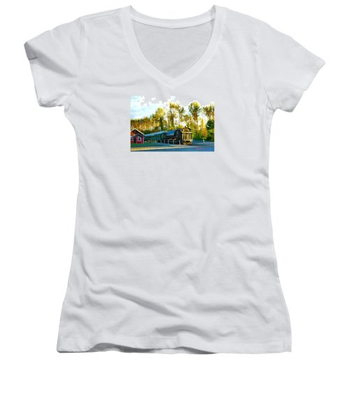 Mt Rainier W A Scenic Railroad Women's V-Neck T-Shirt (Junior Cut) by Sadie Reneau