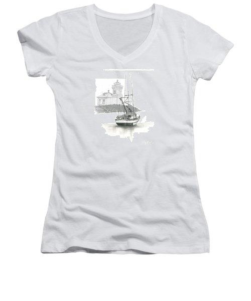 Mukilteo Lighthouse Women's V-Neck T-Shirt (Junior Cut) by Terry Frederick