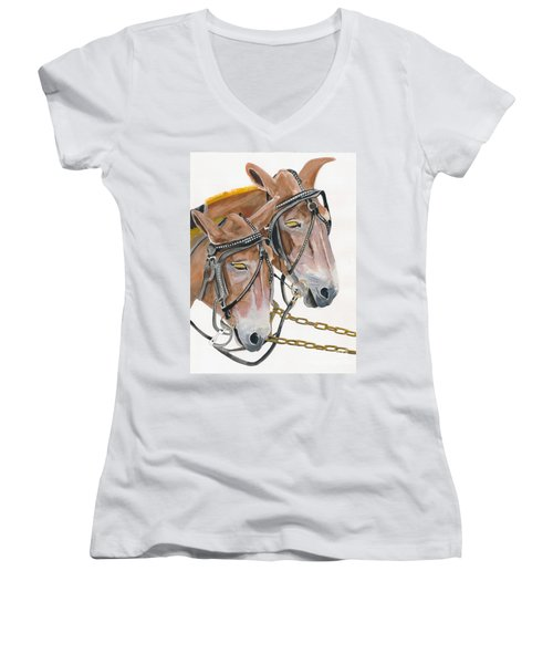 Women's V-Neck T-Shirt (Junior Cut) featuring the painting Mules - Two - Beast Of Burden by Jan Dappen