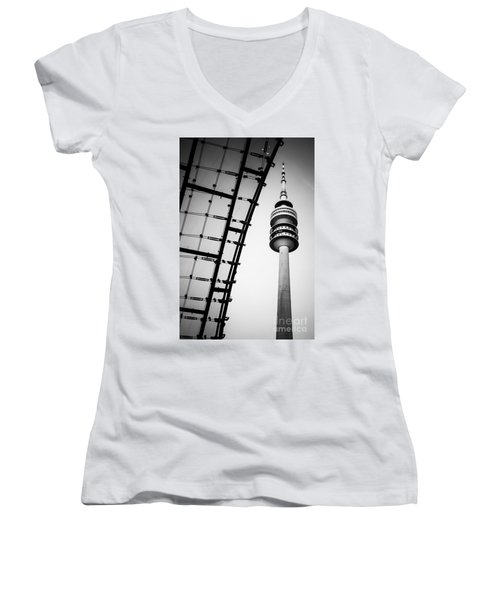 Munich - Olympiaturm And The Roof - Bw Women's V-Neck T-Shirt